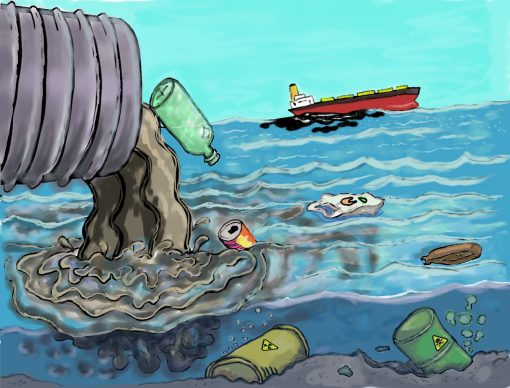 Illustration of a storm drain emptying into the ocean, with trash. Image by Rilson S. Avelar on Pixabay