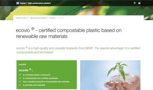"BASF website screenshot for ""compostable"" plastic"