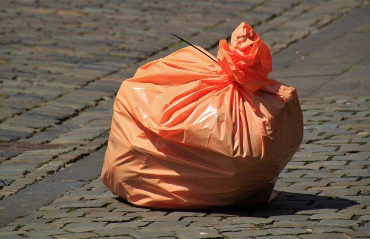 Orange trash bag