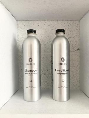 Fillaree hair products in aluminum bottles