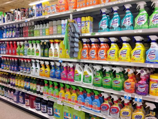 Supermarket aisle with cleaning products