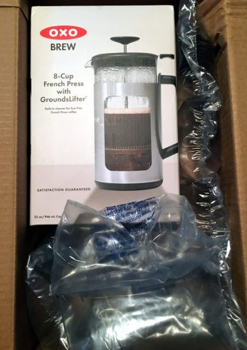 French press shipped from Amazon, with plastic air pillows.