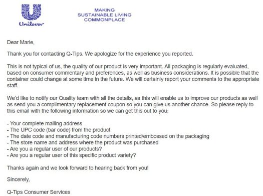 Unilever email response to me.