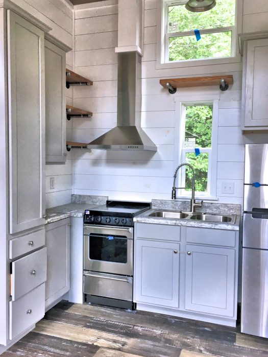 Kitchen of a tiny house at River Ridge Escape, photo by me