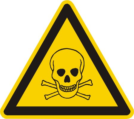 Yellow warning sign with skull and crossbones