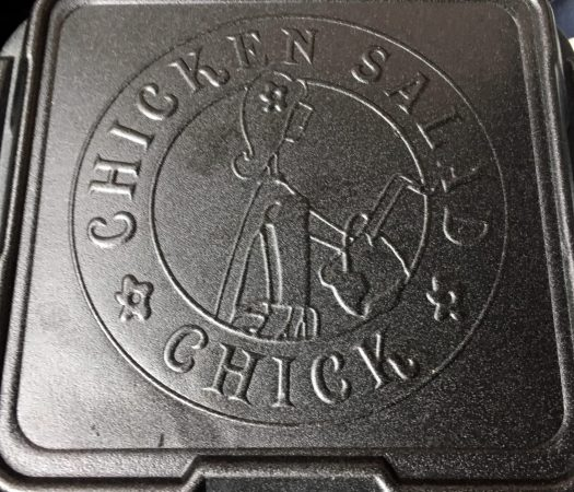 Chicken Salad Chick polystyrene container, use for dine-in service.