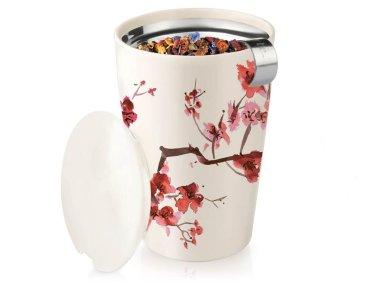 Tea Forte's KATI Steeping Cup & Infuser Cherry Blossom design