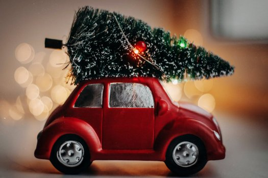 Miniature red car and Christmas tree