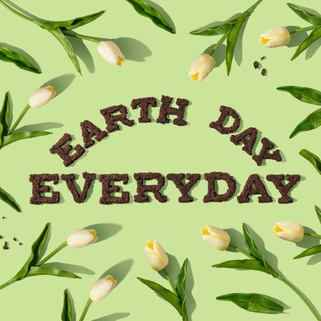 """Earth Day EveryDay"" illustrated in soil colored letters on green flower background."