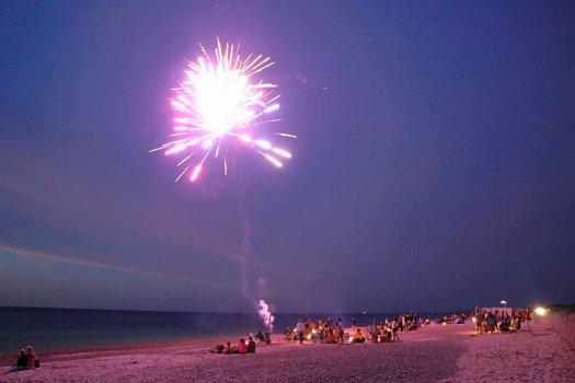 Fireworks on a beach in Cape Cod, Massachusetts