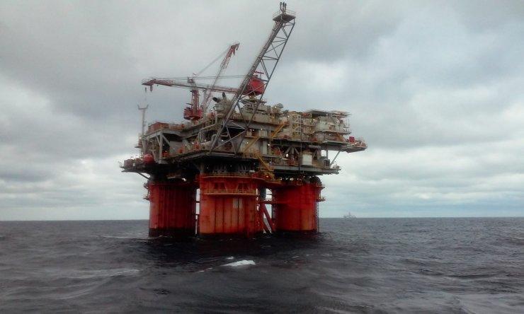 Oil rig in the ocean.