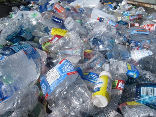 Collected PET plastic bottles crushed.