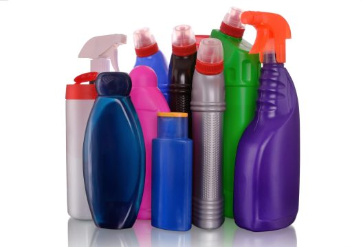 Colorful plastic bottles, from products such as shampoo and household cleaners.