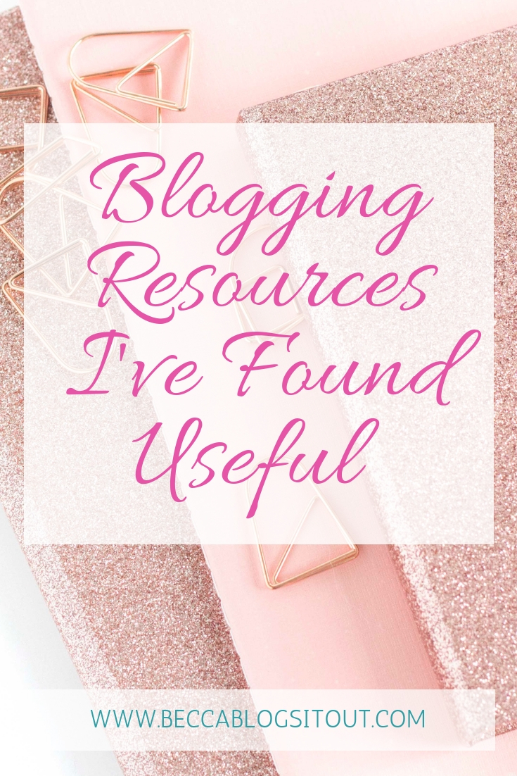 Blogging Resources I've Found Useful - title over a photo of rose gold notebooks