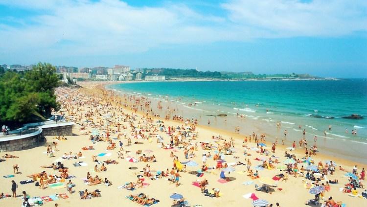 Busy beach on a sunny day