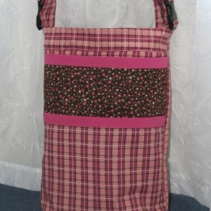 Wheelchair Bag - Pink Plaid with Flower Accents | BeccaBug.com