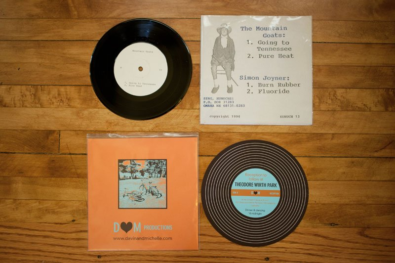 record themed wedding invitation with mountain goats lp