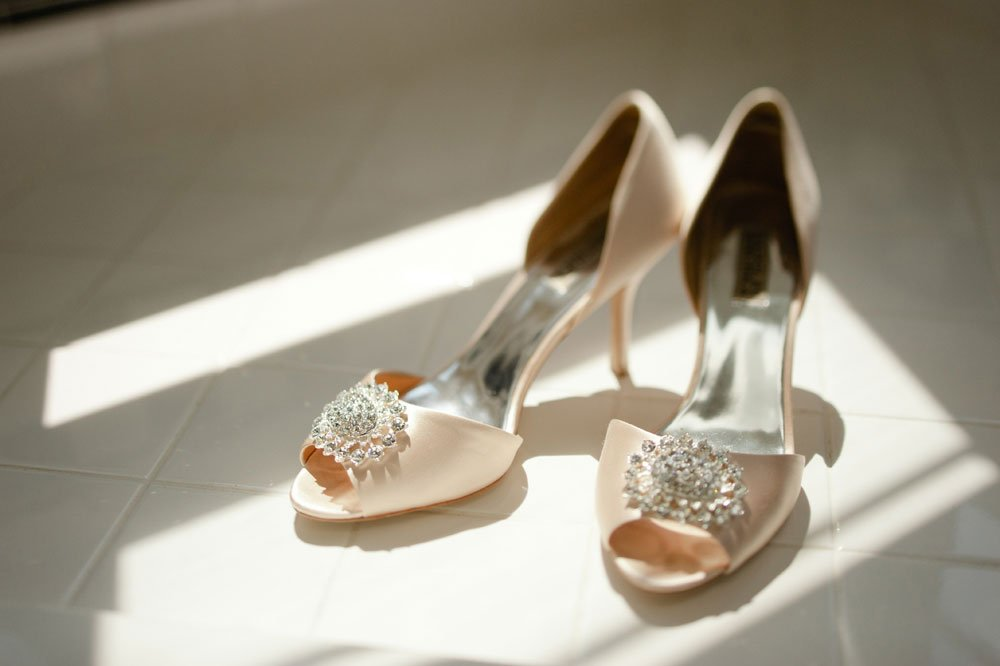 wedding shoes in light