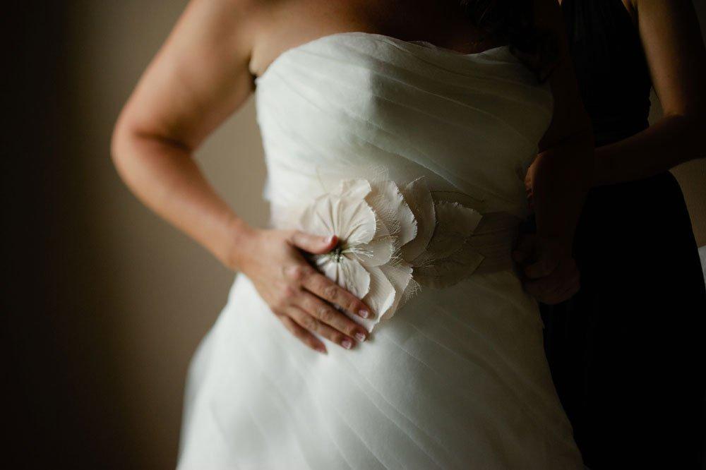 detail of brides dress