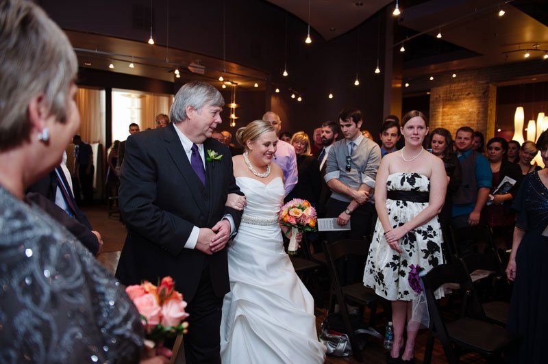 bride and father walk down aisle five event center minneapolis wedding