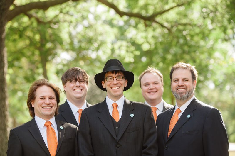 groom with 4 groomsmen with orange ties Lake Hiawatha for Minneapolis wedding