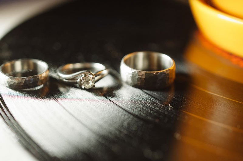 wedding rings on LP record at Theadore Wirth Park Chalet Minneapolis