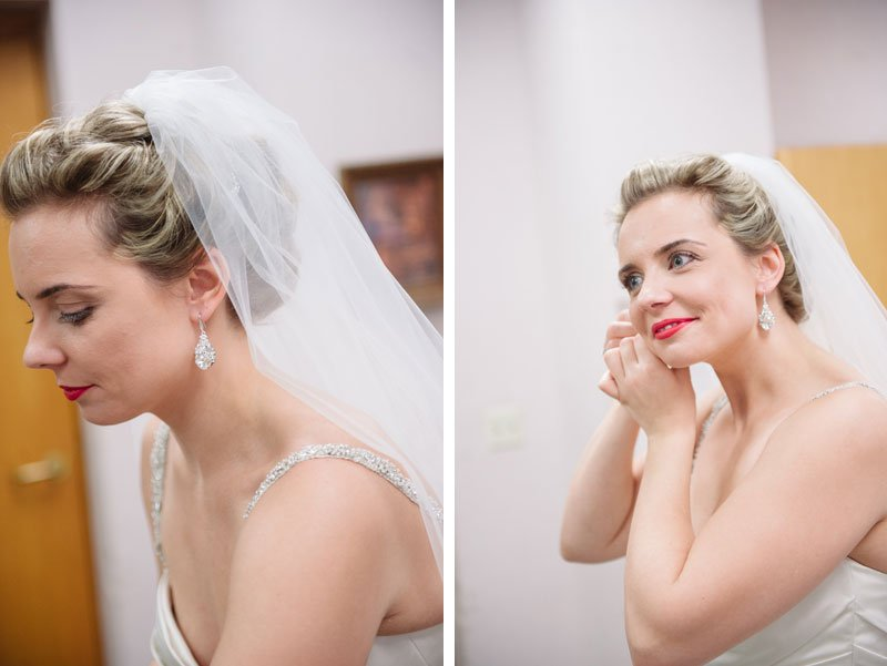 bride putting on earrings before Temple Israel wedding Minneapolis MN