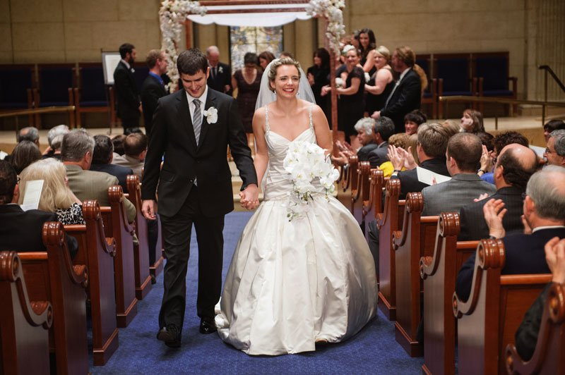 Bride and groom walk down aisle after Temple Israel Wedding Minneapolis MN
