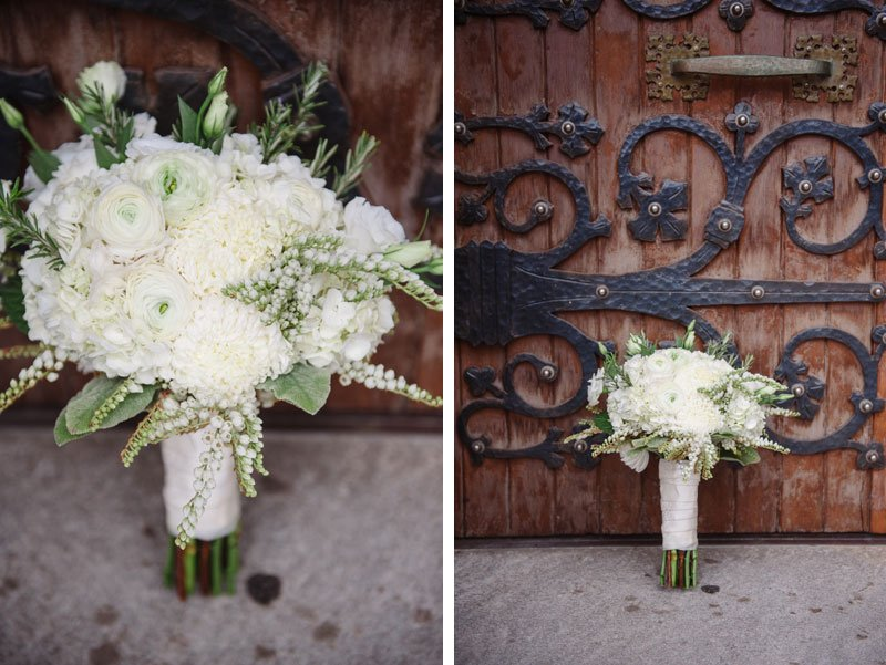 textural white flowers in wedding bouquet for st thomas church wedding st paul mn