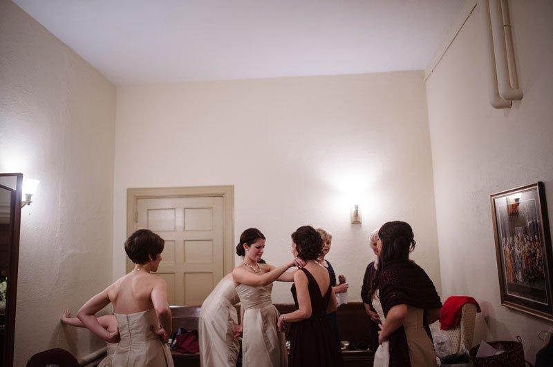 bridesmaids getting ready st thomas church wedding st paul mn