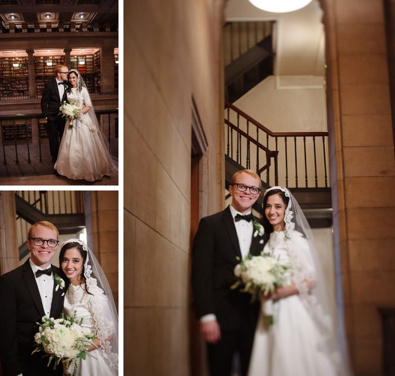 st paul mn wedding at jj hill library bride and groom and vintage architecture