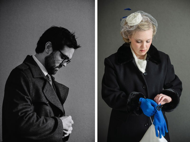 bride and groom prepare for the cold for winter wedding in minneapolis