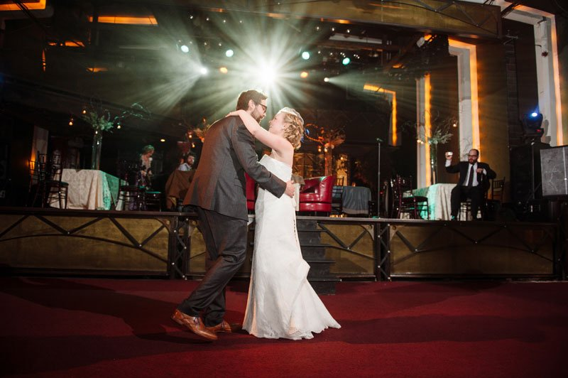 first dance at varsity theater wedding reception in winter minneapolis