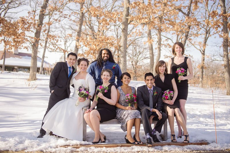 casual winter wedding party Silverwood park center mn wedding