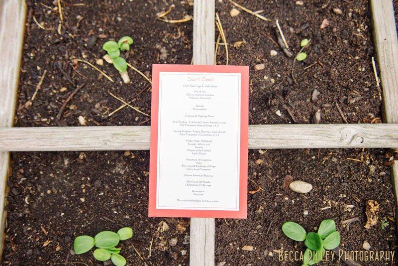 agronomy invitation at Allen Centennial Gardens wedding in madison wi