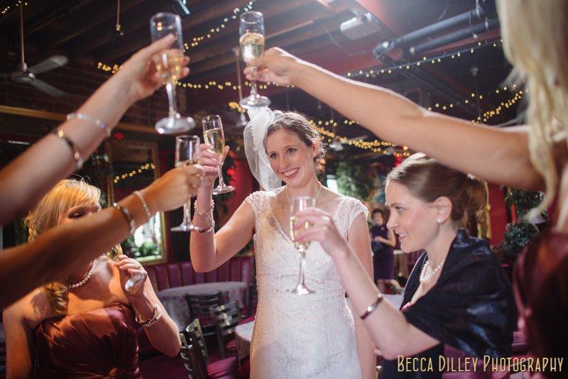 toasting the bride at loring pasta bar minneapolis wedding