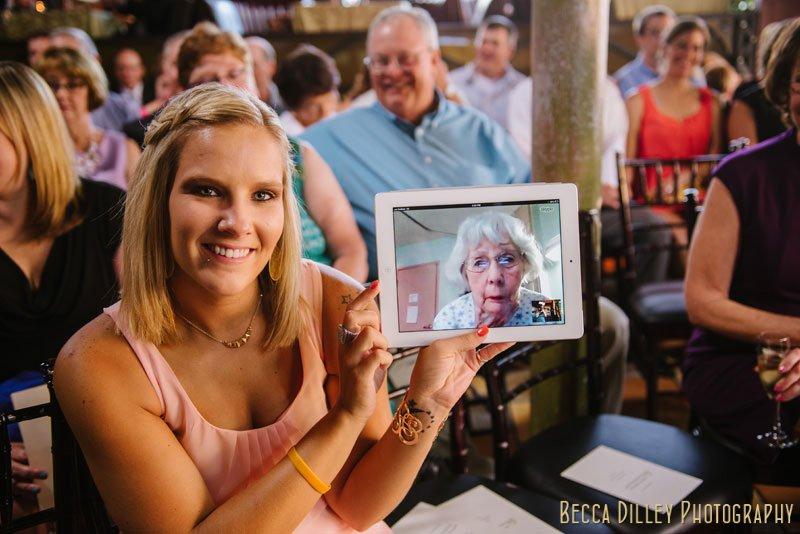 grandma attending wedding via skype loring pasta bar minneapolis wedding