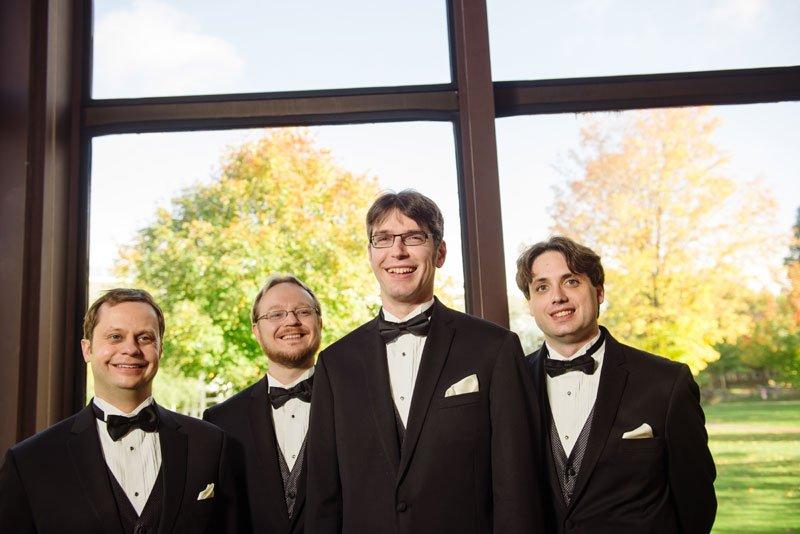 groomsmen inside weyerhaeuser chapel macalester college