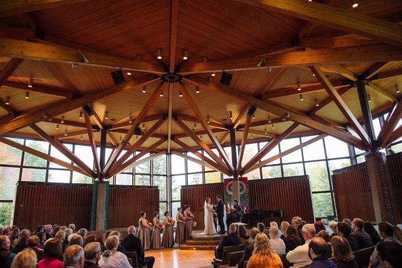 wedding ceremony at weyerhaeuser chapel macalester college - mn history center wedding