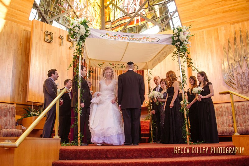 bride circles groom under chuppah at Beth El Synagogue in St Louis Park MN
