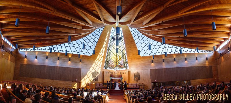 interior panorama of Beth El Synagogue in St Louis Park MN during wedding