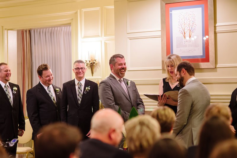grooms exchange vows at st paul college club wedding mn