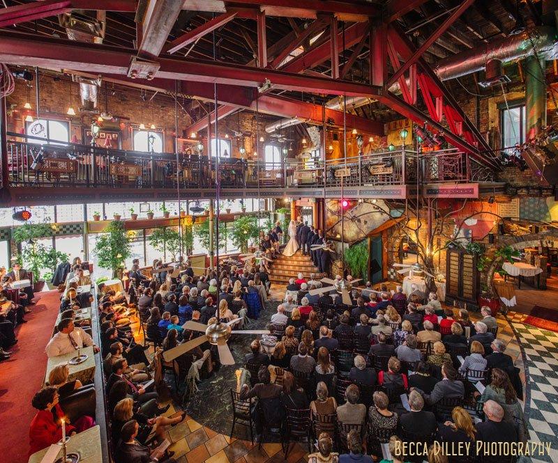 panorama of interior of wedding at loring pasta bar dinkytown