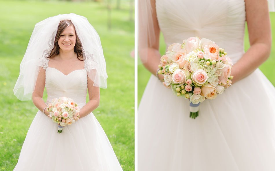 bride with blush pink spring flowers at St Maria Goretti church wedding madison wi