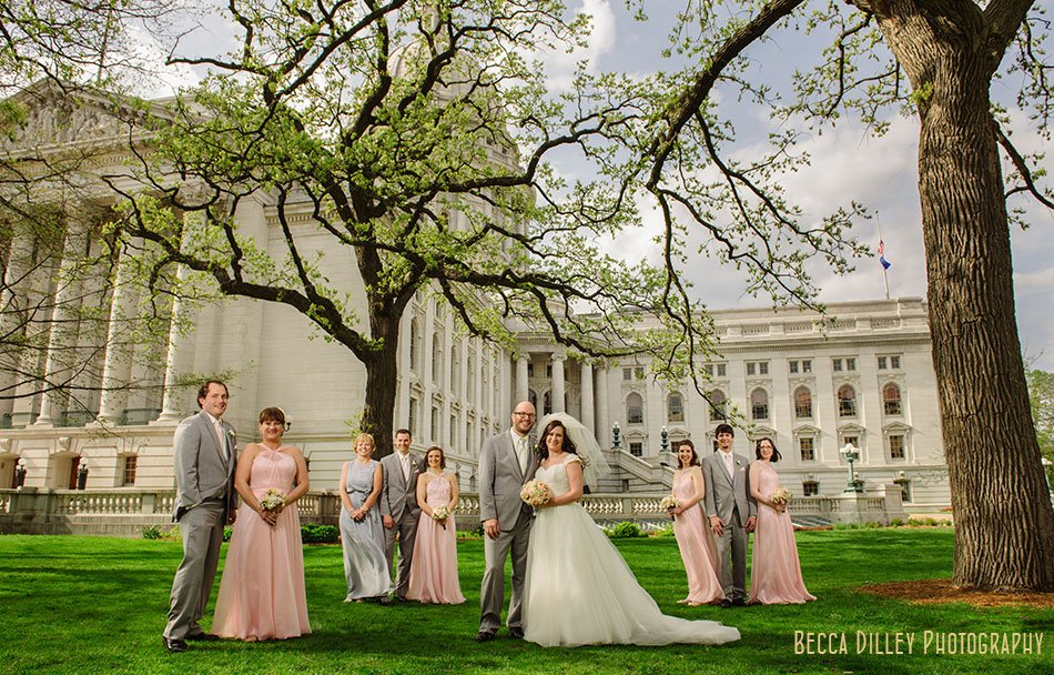 wedding party flash composite on lawn of Wisconsin capitol building