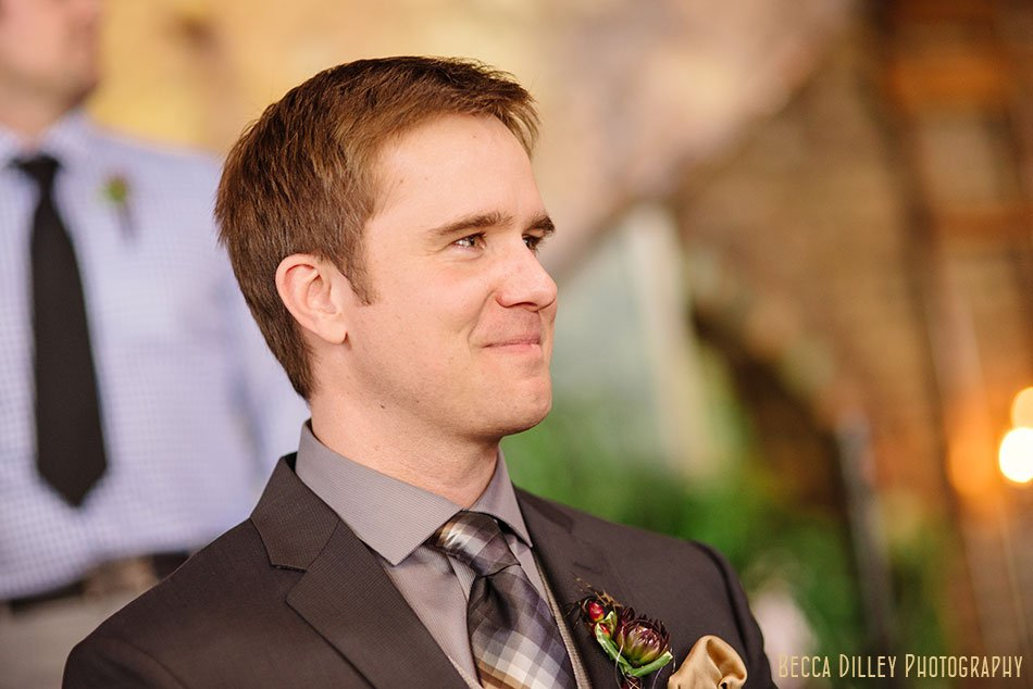 groom sees bride for first time at Loring Pasta Bar wedding Minneapolis