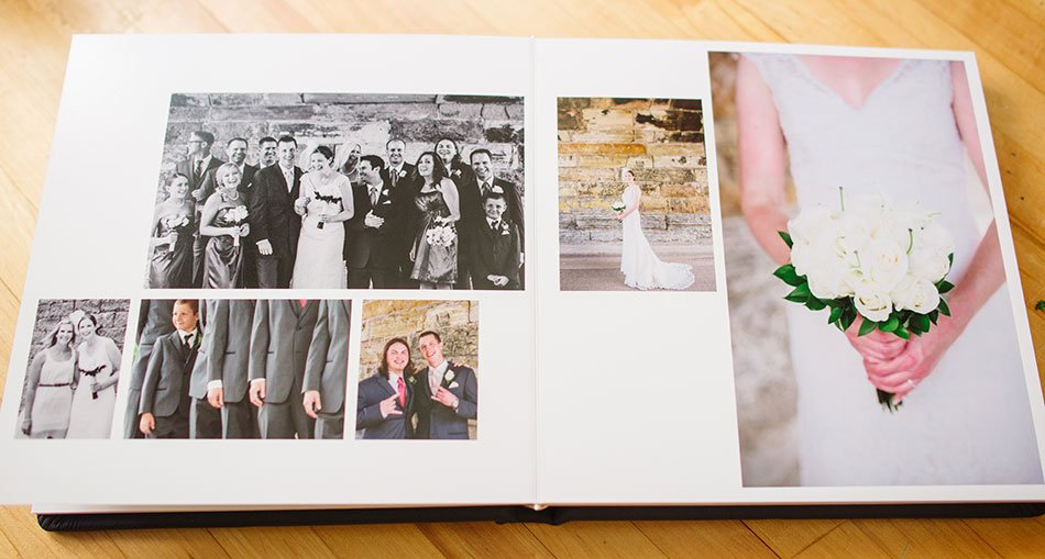 Navy Leather flush mount wedding album fun pages
