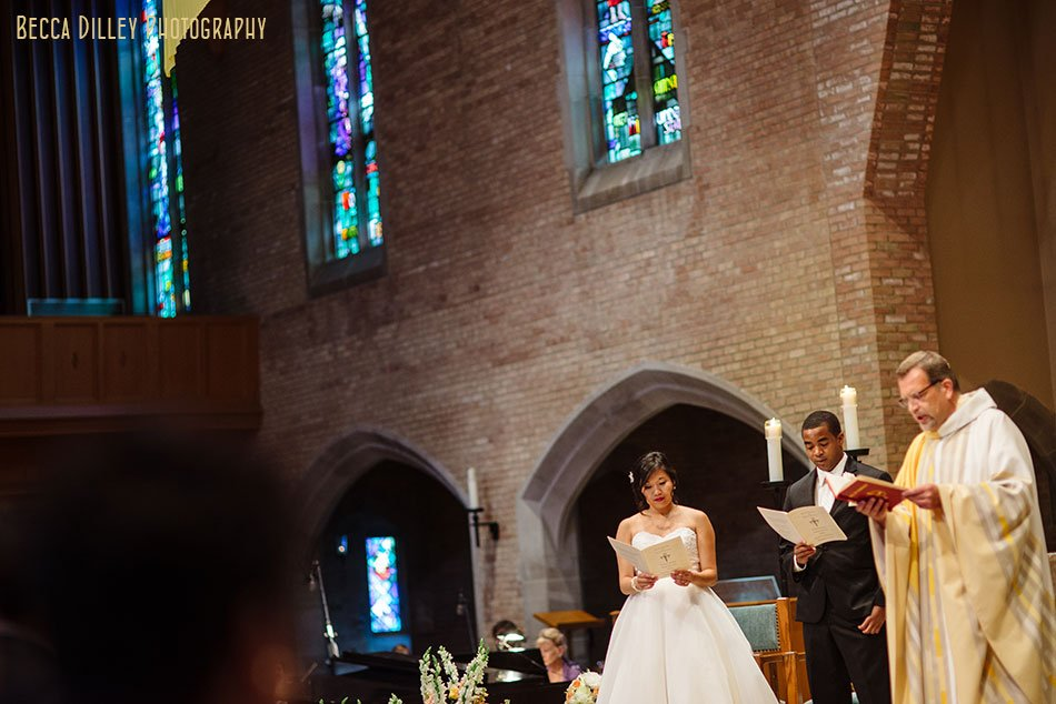 bride and groom read along during wedding ceremony