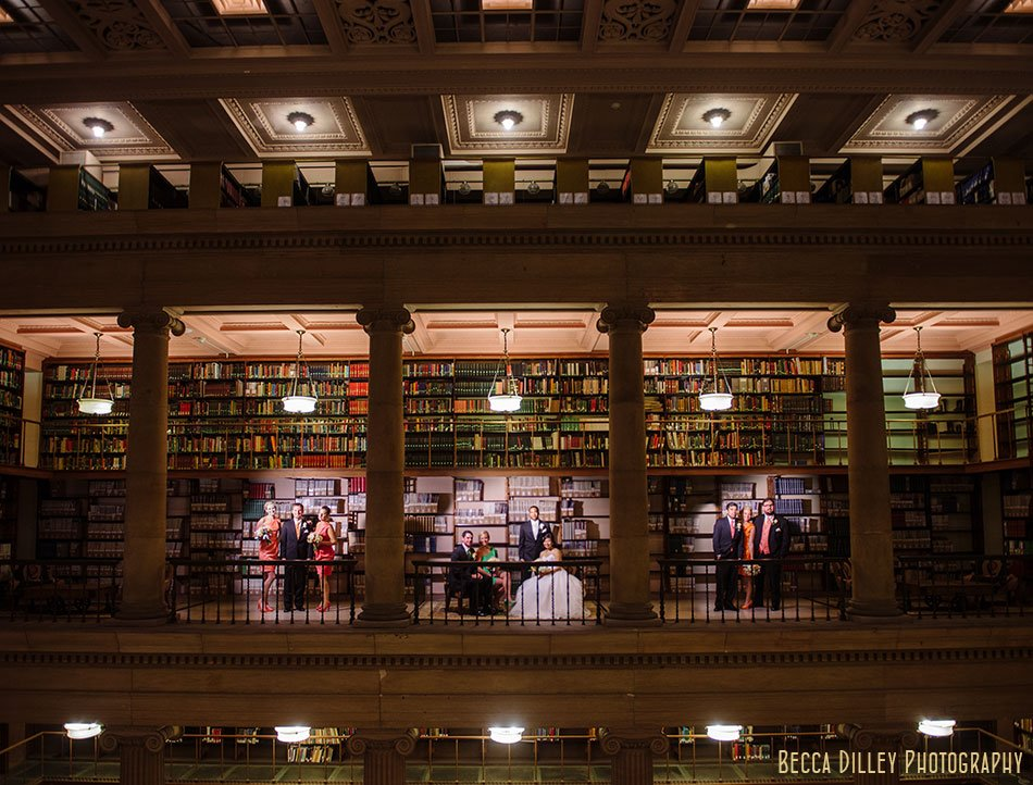 Hill Library Wedding Photography - flash composite of large group