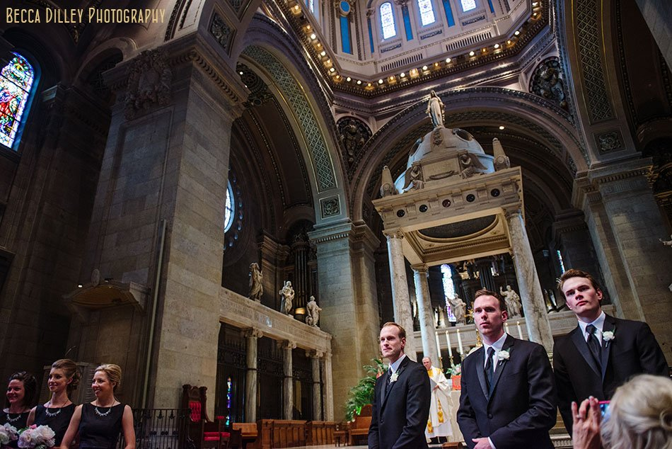 groom waiting for bride at altar basillica wedding minneapolis